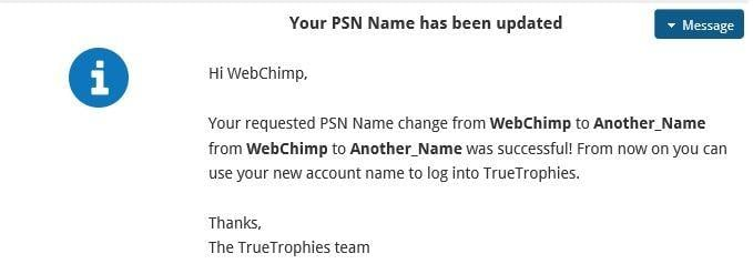 PlayStation Network Name Change Private Message