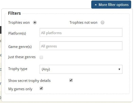 Trophies Requiring Guides filter